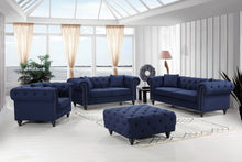 Meridian Furniture Chesterfield Navy Linen Sofa