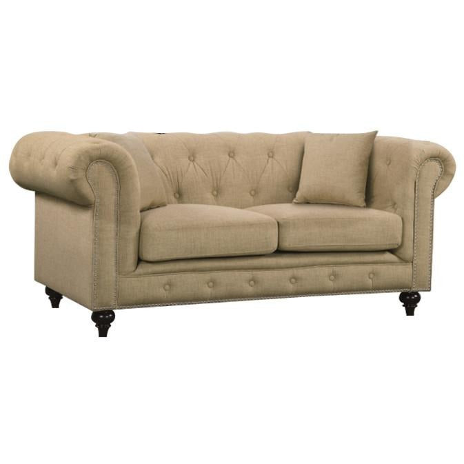 Meridian Furniture Chesterfield Sand Linen Loveseat-Minimal & Modern