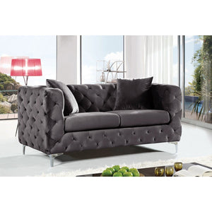 Meridian Furniture Scarlett Grey Velvet Loveseat-Minimal & Modern