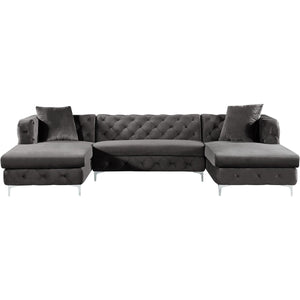 Meridian Furniture Gail Grey Velvet 3pc. Sectional-Minimal & Modern