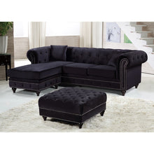 Meridian Furniture Sabrina Black Velvet 2pc. Reversible Sectional-Minimal & Modern