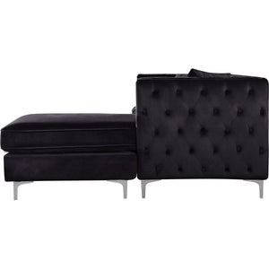 Meridian Furniture Jesse Black Velvet 2pc. Reversible Sectional-Minimal & Modern