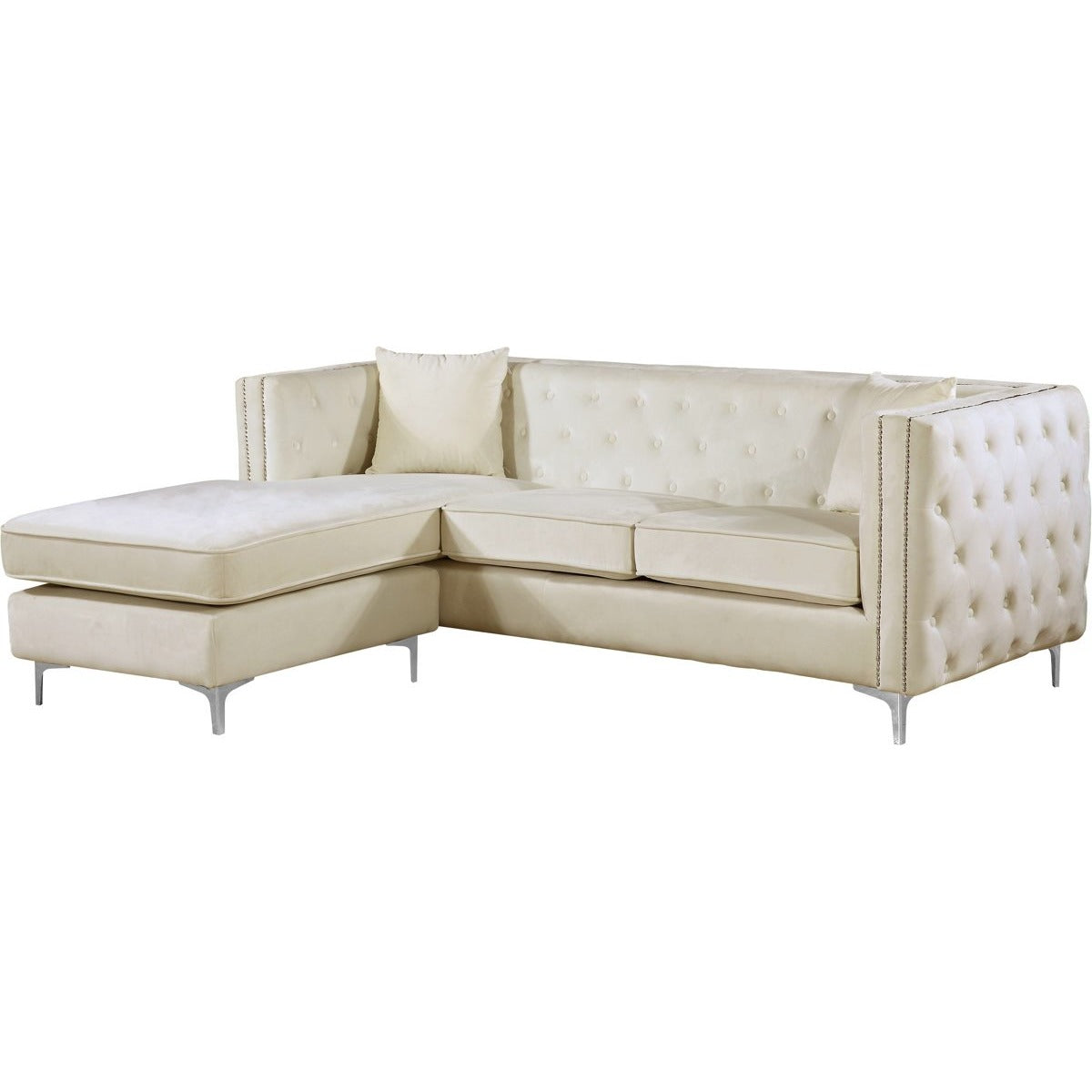 Meridian Furniture Jesse Cream Velvet 2pc. Reversible SectionalMeridian Furniture - 2pc. Reversible Sectional - Minimal And Modern - 1