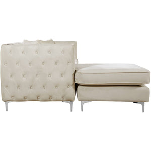Meridian Furniture Jesse Cream Velvet 2pc. Reversible Sectional-Minimal & Modern