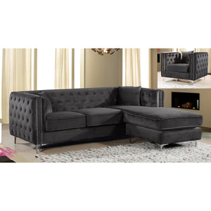 Meridian Furniture Jesse Grey Velvet 2pc. Reversible Sectional-Minimal & Modern