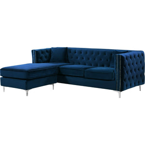 Meridian Furniture Jesse Navy Velvet 2pc. Reversible Sectional-Minimal & Modern