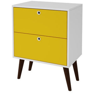 Accentuations by Manhattan Comfort Taby 2- Drawer Nightstand in Yellow and WhiteManhattan Comfort-Nightstand- - 1