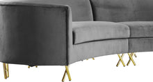 Meridian Furniture Serpentine Grey Velvet 3pc. Sectional