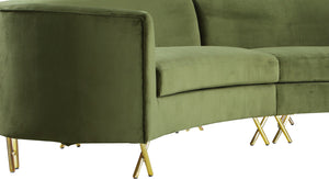 Meridian Furniture Serpentine Olive Velvet 3pc. Sectional