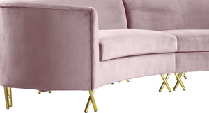 Meridian Furniture Serpentine Pink Velvet 3pc. Sectional