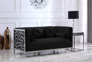 Meridian Furniture Opal Black Velvet Loveseat