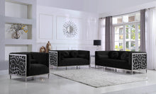 Meridian Furniture Opal Black Velvet Sofa