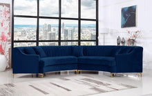 Meridian Furniture Jackson Navy Velvet 2pc. Sectional