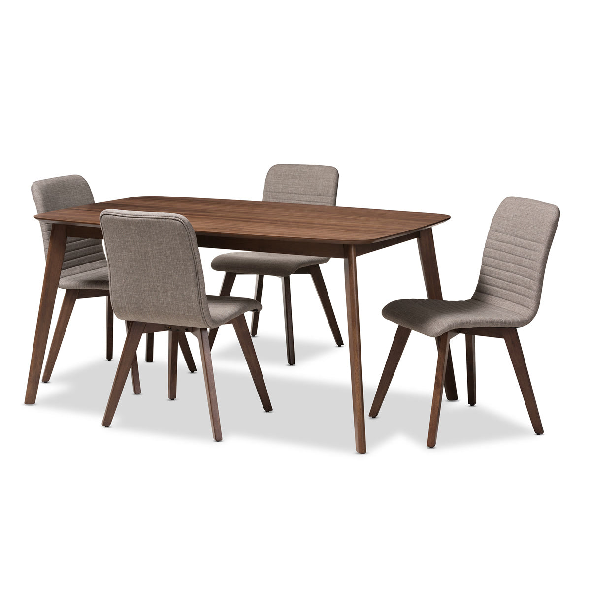 Baxton Studio Sugar Mid-Century Modern Light Grey Fabric Upholstered Walnut Wood Finished 5-Piece Dining Set Baxton Studio-0-Minimal And Modern - 1