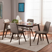 Baxton Studio Sugar Mid-Century Modern Light Grey Fabric Upholstered Walnut Wood Finished 5-Piece Dining Set Baxton Studio-0-Minimal And Modern - 4