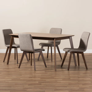 Baxton Studio Sugar Mid-Century Modern Light Grey Fabric Upholstered Walnut Wood Finished 5-Piece Dining Set Baxton Studio-0-Minimal And Modern - 5