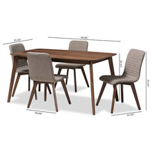 Baxton Studio Sugar Mid-Century Modern Light Grey Fabric Upholstered Walnut Wood Finished 5-Piece Dining Set Baxton Studio-0-Minimal And Modern - 6