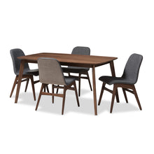 Baxton Studio Embrace Mid-Century Modern Dark Grey Fabric Upholstered Walnut Wood Finished 5-Piece Dining Set Baxton Studio-0-Minimal And Modern - 1
