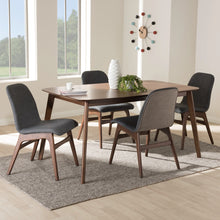Baxton Studio Embrace Mid-Century Modern Dark Grey Fabric Upholstered Walnut Wood Finished 5-Piece Dining Set Baxton Studio-0-Minimal And Modern - 4