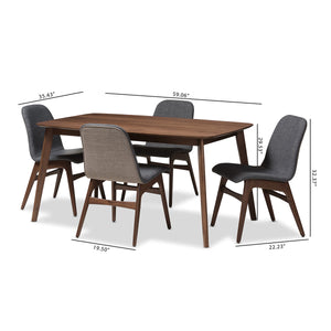 Baxton Studio Embrace Mid-Century Modern Dark Grey Fabric Upholstered Walnut Wood Finished 5-Piece Dining Set Baxton Studio-0-Minimal And Modern - 6
