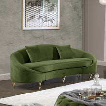 Meridian Furniture Serpentine Olive Velvet Sofa