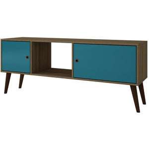 Accentuations by Manhattan Comfort Varberg Splayed Leg TV Stand in Oak and AquaManhattan Comfort-Entertainment Center- - 1