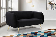 Meridian Furniture Harlow Black Velvet Loveseat