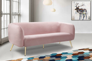 Meridian Furniture Harlow Pink Velvet Sofa