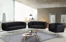 Meridian Furniture Willow Black Velvet Loveseat
