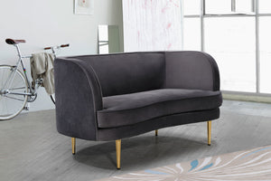 Meridian Furniture Vivian Grey Velvet Loveseat