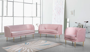 Meridian Furniture Vivian Pink Velvet Chair