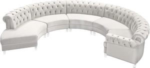 Meridian Furniture Anabella Cream Velvet 5pc. Sectional