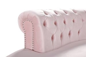 Meridian Furniture Anabella Pink Velvet 5pc. Sectional