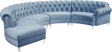 Meridian Furniture Anabella Sky Blue Velvet 4pc. Sectional