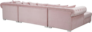 Meridian Furniture Presley Pink Velvet 3pc. Sectional