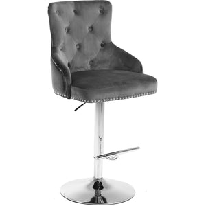 Meridian Furniture Claude Grey Velvet Adjustable Stool-Minimal & Modern