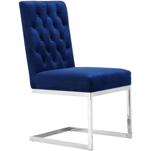 Meridian Furniture Carlton Navy Velvet Dining Chair-Minimal & Modern