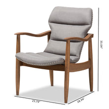 Baxton Studio Hadley Mid-Century Modern Grey Fabric and Walnut Brown Finished Wood Lounge Chair Baxton Studio-chairs-Minimal And Modern - 2