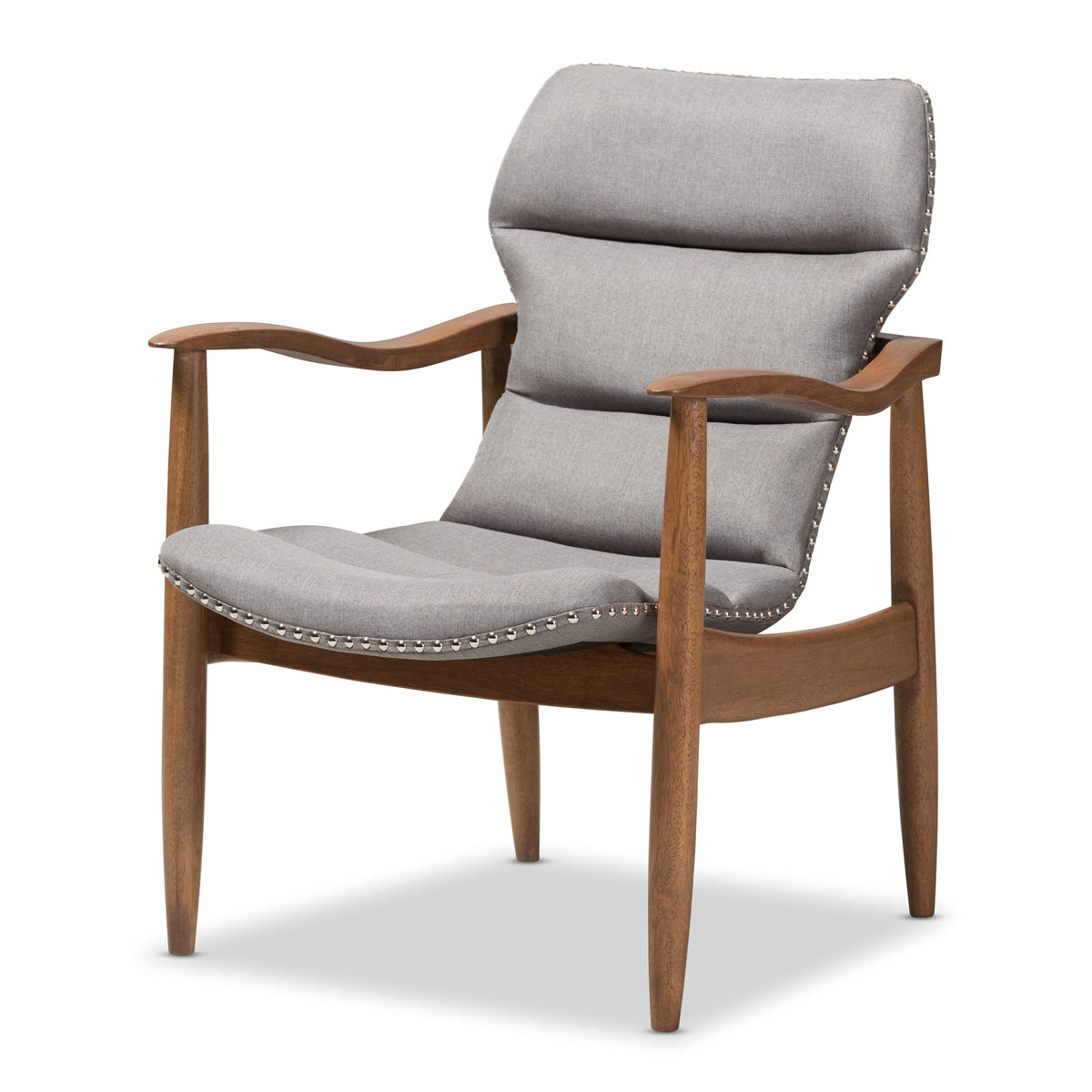 Baxton Studio Hadley Mid-Century Modern Grey Fabric and Walnut Brown Finished Wood Lounge Chair Baxton Studio-chairs-Minimal And Modern - 1