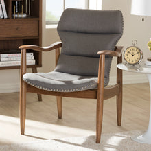 Baxton Studio Hadley Mid-Century Modern Grey Fabric and Walnut Brown Finished Wood Lounge Chair Baxton Studio-chairs-Minimal And Modern - 9