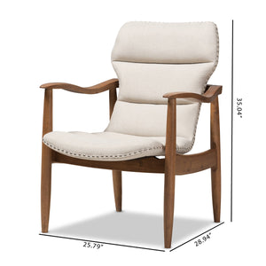 Baxton Studio Hadley Mid-Century Modern Light Beige Fabric and Walnut Brown Finished Wood Lounge Chair Baxton Studio-chairs-Minimal And Modern - 2