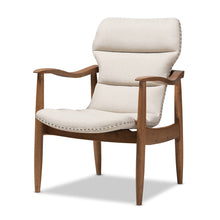 Baxton Studio Hadley Mid-Century Modern Light Beige Fabric and Walnut Brown Finished Wood Lounge Chair Baxton Studio-chairs-Minimal And Modern - 1