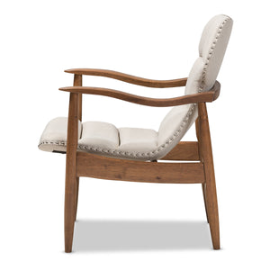 Baxton Studio Hadley Mid-Century Modern Light Beige Fabric and Walnut Brown Finished Wood Lounge Chair Baxton Studio-chairs-Minimal And Modern - 4