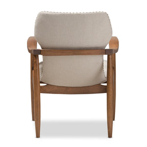 Baxton Studio Hadley Mid-Century Modern Light Beige Fabric and Walnut Brown Finished Wood Lounge Chair Baxton Studio-chairs-Minimal And Modern - 5