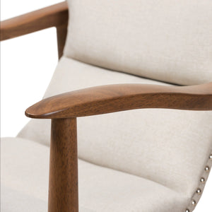 Baxton Studio Hadley Mid-Century Modern Light Beige Fabric and Walnut Brown Finished Wood Lounge Chair Baxton Studio-chairs-Minimal And Modern - 7
