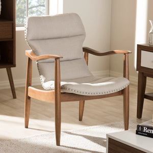 Baxton Studio Hadley Mid-Century Modern Light Beige Fabric and Walnut Brown Finished Wood Lounge Chair Baxton Studio-chairs-Minimal And Modern - 9
