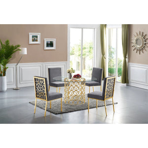 Meridian Furniture Opal Grey Velvet Dining Chair-Minimal & Modern