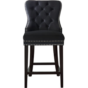 Meridian Furniture Nikki Black Velvet Stool-Minimal & Modern