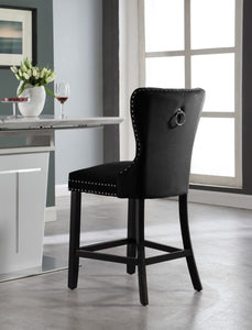 Meridian Furniture Nikki Black Velvet Stool - Set of 2