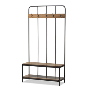 Baxton Studio Hull Rustic Industrial Style Antique Black Metal and Wood Entryway Hall Tree Baxton Studio--Minimal And Modern - 2